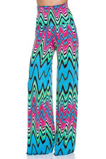 New Chevron Printed Palazzo Wide Leg High Waist Stretch Boho Pants S M L