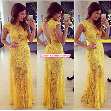 Women Sexy High Collar Cap Sleeves Yellow Lace Party Gown Prom Evening Dresses