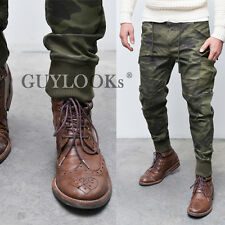 Trendy Mens Camouflage Drawcord Cuffed Cargo Jogger Pants Sweatpants by Guylook