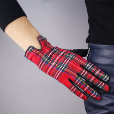 Scottish Grid Tweed Wool Real Leather Wrist Long Gloves Christmas Gift Red Lamb