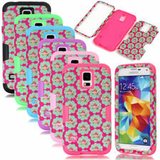 Rose Flower Dual Layers Hybrid Shockproof Matte Cases For Samsung Galaxy S4 S5