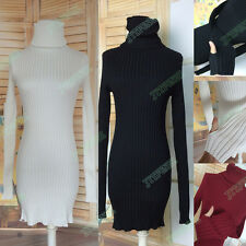 New Women Warm Winter Thickening Knit Tunic Turtleneck Sweater Dress With Gloves