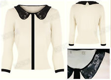 New KAREN MILLEN Ivory Knit White 50s Vintage Style Cardigan Black Sequin Collar