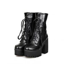 gothic punk chunky lace up platform ankle boots thick crust high-heeled boots