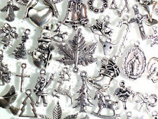 5 - 20 Pcs SILVER XMAS CHARMS & PENDANTS BRACELETS Necklaces Christmas JEWELLERY