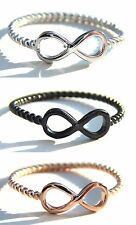 925 Sterling Silver Infinity Ring 3 Colours, Size J - R