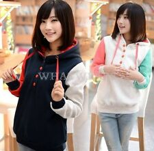 Womens Long Patched Sleeves Fleece With Pocket Casual Hoodies Tops Pullover FKS