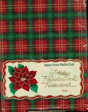 Vinyl Tablecloth Flannel Back Holiday Symbol Plaid Gold Red Green CHOOSE SIZE