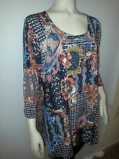 women's 3/4 print knit top 1X, 2X ,3X