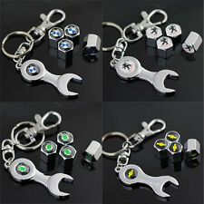 4pcs Auto LOGO Wheel Tire Tyre Stem Air Cover Valve Caps + Wrench Keychain Hot ~