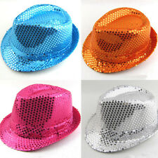 Unisex Shinny Sequins Jazz Hats Stage Club Dance Show Cap Costumes Accessories