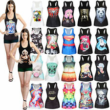 Womens Printing Tank Tops Vest Blouses Gothic Punk Party Sleeveless Swim wear