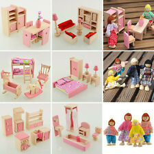 Wooden Dolls House Furniture Miniature 6 Room For Kids Children Gifts