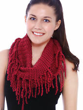 Women Ladies Winter Crochet Knitted Infinity Scarf Tassel Fringed Scarves Shawl
