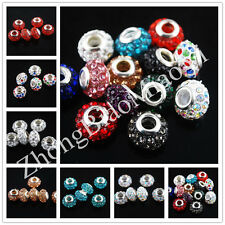 10Ps Crystal Rhinestone Pave Big Hole Beads Spacer Findings 14x8mm 9Color U Pick