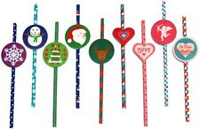 25 Valentine Paper Party Drinking Straws Retro Heart Love Cupid- with Tags