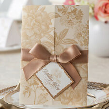 Light Brown Hot Flowers Tie and Tag Wedding Invitations Cards with Envelopes
