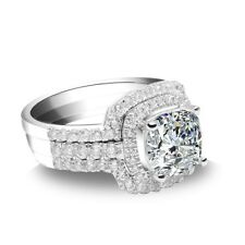 3 Carat Diamond Cushion Cut Engagement Wedding Ring Set + FREE PAIR OF EARRINGS