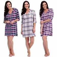 Ladies Womens Check Nightshirt Nightdress Nighty Shirt Flannel Cotton Size 8-18