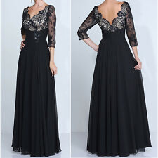 Elegant Womens Mother of the Bride/Groom Dresses Black Lace Evening Formal Gowns