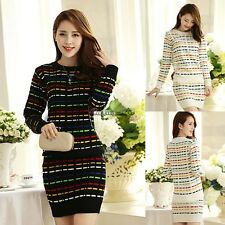 Womens Knit Sweater Top and Skirt Clothing set Sexy Two-piece Bodycon Mini Dress