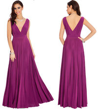 Sexy Plunging Pleated Party Evening Maxi Berry  Dress - Size 8 10 12