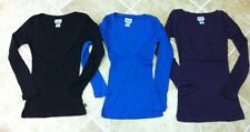 Lot of 3 NEW Women Cotton Stretch deep V-Neck Knit Top Fitted Tee Shirt S M