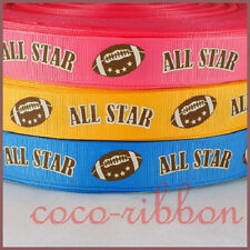 10Y 7/8 All Star Football Team Cheer Spirit Grosgrain Ribbon U Pick