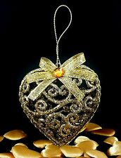 Xmas Christmas Baubles/Ornaments Tree Decorations Shabby Glitter Chic Gold Heart