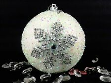 Xmas Christmas Decorations Baubles Tree Ornaments White Snowdrop Glitter X12