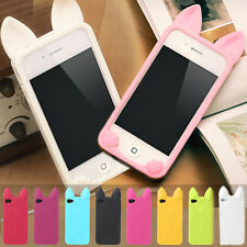 3D Cute Cartoon Cat Ear Soft Silicone Case Cover For Apple iphone  4 5 S 5C 6