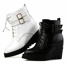 Womens High Heel Hidden Wedge Lace Up Buckle Platform Ankle Boot Roma New Shoes