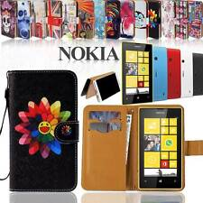 Folio Flip Wallet Card Stand Leather Magnetic Case Cover For Nokia Asha Phones