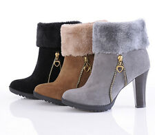 Popular Womens Winter Ankle Boots High Heels Platform Sexy Warm Snow Boots CA HU