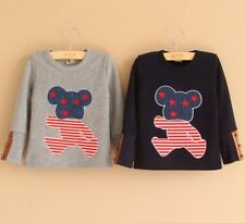 New Kids Toddler Clothes Boys Girls Thick Casual Long Sleeve Bear Tops Sz18M-7Y