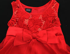 Girl Dress Party Pageant Holiday Edition Wedding Red Sparkly XS 4/5  Holiday A28