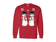 Snow Men Humor Merry Christmas Ugly Sweater Crew Neck Funny Holiday Spirit
