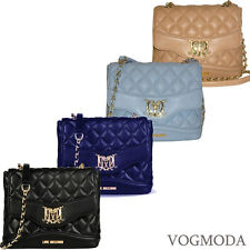 Shoulder Cross body bag quilted LOVE MOSCHINO Black Blue navy Clutch 2015