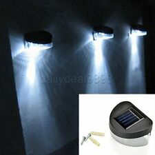 White Solar Powered 3 LED Outdoor Lights Lamp Fence Gutter Roof Yard Wall Garden