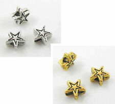 Lot 200pcs Tibetan Silver/Gold Star-shaped Spacer Beads 4.5x2.5mm(Lead-free)