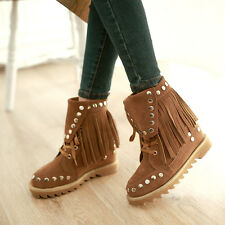 HOt Womens Hidden Wedge Lace Up Tassel ANkle Boot Rivet Candy Fashion New SHoes