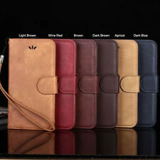 Real Genuine Leather ID CARD Magnet Stand Case Cover For Apple iPhone+Wristlet