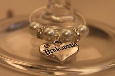 A01T White Top Table Personalised Wedding Wine Glass Charms /Favours/Decorations
