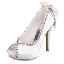 Womens Stiletto High Heel Satin Sparkle Bridal Wedding Shoes Evening Party Shoes