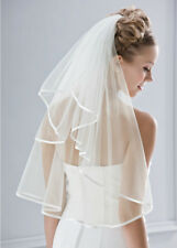 New 2T White or Ivory Wedding Veil Bridal Veil Satin Edge With Comb Waist Lenght