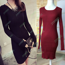 High-Quality Womens Warm Winter Thickening Knit Tunic Sweater Dress With Gloves