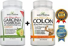 GARCINIA CAMBOGIA 80% EXTRACT + COLON Cleanse/DETOX -Weight Loss Pills