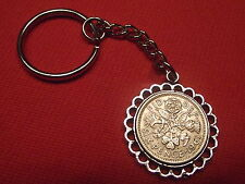 LUCKY SIXPENCE PENDANT BIRTHDAY KEYRINGS ANY YEAR FREE P&P WEDDINGS BRIDE GROOM