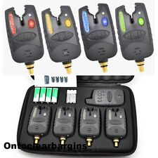 4 Wireless Bite Alarms and Remote Receiver in Case 2 3 or 4 Alarms Brand New