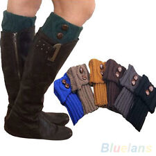 Women Adorable Winter Leg Warmers Button Crochet Knit Boot Socks Toppers Cuffs